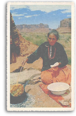 American Indian woman making fry bread